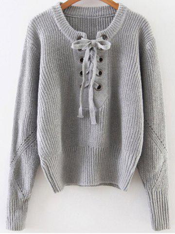 Online Lace Up Ribbed Pullover Sweater GRAY ONE SIZE