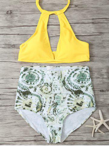 Buy High Waisted Halter Neck Keyhole Bikini GREEN AND YELLOW L