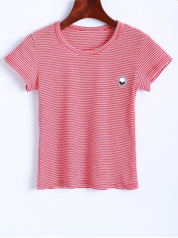 Outfits Alien Embroidered Striped Cropped T-Shirt