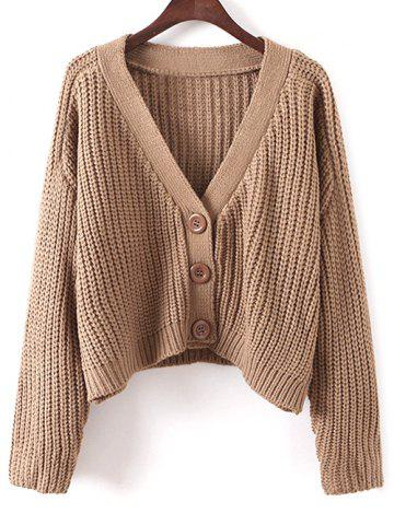 Shop V Neck Cropped Chunky Cardigan