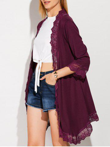 Buy Collarless Lace Spliced Duster Coat