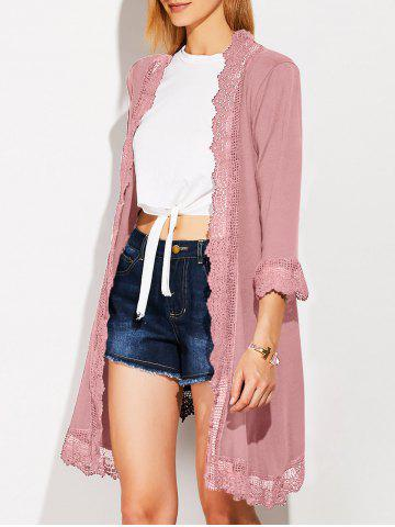 Affordable Collarless Lace Spliced Duster Coat