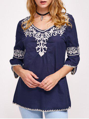 Hot Fall Ethnic Embroidery Covered Edge T-Shirt