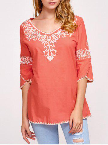 Fashion Fall Ethnic Embroidery Covered Edge T-Shirt