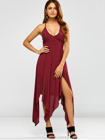 Deep V Neck Strappy Maxi Hankerchief Dress - Wine Red - S