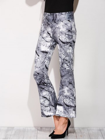 Discount Boot Cut Pants With Chinese Painting Print COLORMIX XL