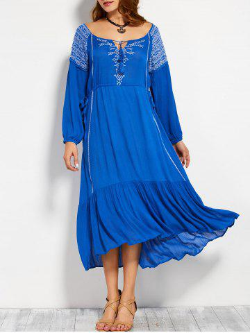 Trendy Scoop Neck Embroidered Drawstring Maxi Dress