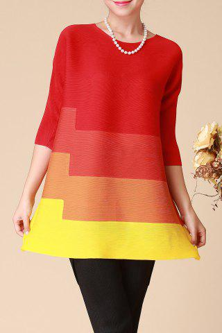 Online Three Quarter Sleeve Color Block Trapeze Dress