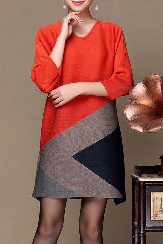 Outfit V Neck Color Block Dress - ONE SIZE JACINTH Mobile