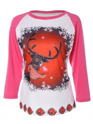 Elk Print Christmas T-Shirt - DEEP PINK 2XL