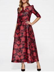 3/4 Sleeve Maxi Flower Print Vintage Dress -
