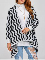 Long Sleeve Zig Zag Asymmetric Cardigan