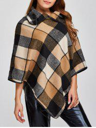 Plaid Asymmetric Pullover Cape Sweater -