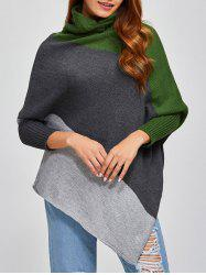 Color Block Asymmetric Pullover Cape Sweater - GRAY