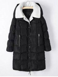 Plus Size Fleece Hooded Long Padded Coat - BLACK