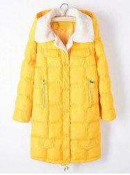 Plus Size Fleece Hooded Long Padded Coat - YELLOW