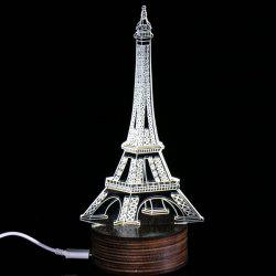 3D Visual Room Atmosphere Eiffel Tower LED Night Light - WHITE
