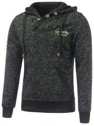 Button Pocket Appliqued Sweatshirt Hoodie