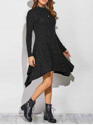 Ribbed Asymmetrical Long Sleeve Skater Sweater Dress - BLACK