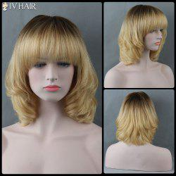 Medium Full Bang Curly Siv Human Hair Wig - COLORMIX
