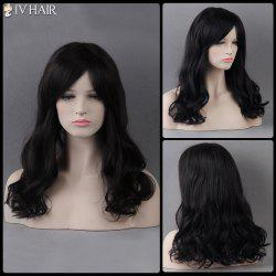 Long Side Bang Wavy Siv Human Hair Wig - JET BLACK 01#