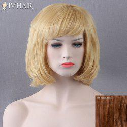 Short Bob Fluffy Side Bang Straight Siv Human Hair Wig