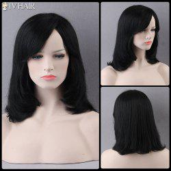 Prevailing Medium Side Bang Straight Siv Human Hair Wig - JET BLACK 01#
