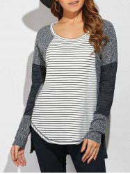 Striped Ribbed Knitted High Low Pullover - WHITE AND BLACK