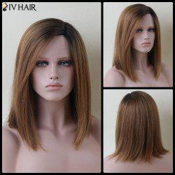 Mixed Color Medium Side Parting Straight Siv Human Hair Wig