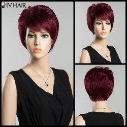 Bouffant Short Side Bang Straight Siv Human Hair Wig