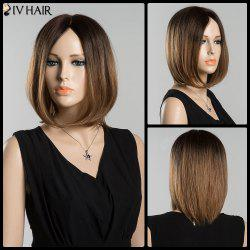 Mixed Color Short Bob Centre Parting Straight Siv Human Hair Wig