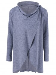 Cowl Neck Heather Overlap Tee