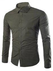Single Breasted Shirt Collar Long Sleeve Shirt - ARMY GREEN XL