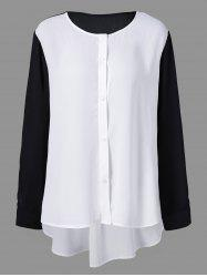 Plus Size High Low Button Down Blouse - WHITE AND BLACK 5XL