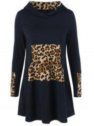 Long Sleeve Leopard Kangaroo Pocket Hooded Dress - BLACK XL