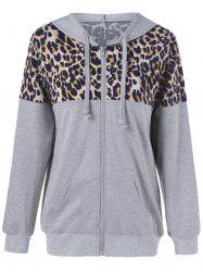 Leopard Patchwork Zipper Up Hoodie
