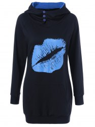 Lip Print Button Embellished Longline Hoodie - BLACK M
