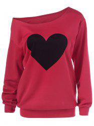 Heart Print Skew Collar Sweatshirt