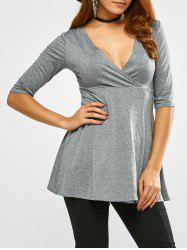 Plunge Neck Half Sleeve T-Shirt