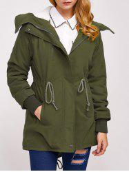 Fleece Hooded Parka Winter Padded Coat Jacket - ARMY GREEN