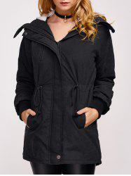 Fleece Hooded Parka Winter Padded Coat Jacket - BLACK