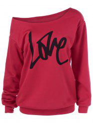 Love Skew Collar Sweatshirt - RED XL