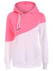Drawstring Color Block Pullover Hoodie -