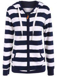 Zip Up Drawstring Striped Hoodie -