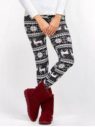 Fawn Christmas Bodycon Leggings - WHITE AND BLACK