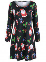 Christmas Santa Claus Print Dress -