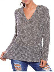 Hooded Heathered Loose Knitwear - GRAY L