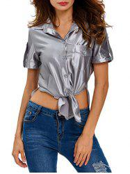 Tied Slit Pocket T-Shirt -