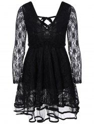 Criss-Cross Ribbon Plunging Lace Low Cut Short Dress
