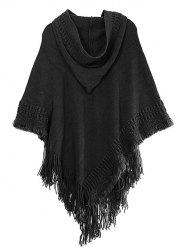 Hooded Fringed Asymmetric Pullover Knit Cape Sweater -